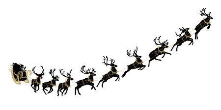 Weihnachtsmann-Schlitten mit Rentieren. Santa liefert Geschenke und Geschenke. Vektorillustration