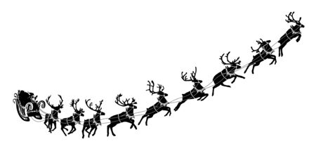 Kerstman slee met rendieren. Kerstman die geschenken en cadeautjes levert. vectorillustratie Vector Illustratie