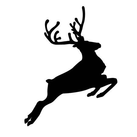 Running reindeer or caribou  icon. Silhouette of Santa Claus's reindeer. Vector Illustration