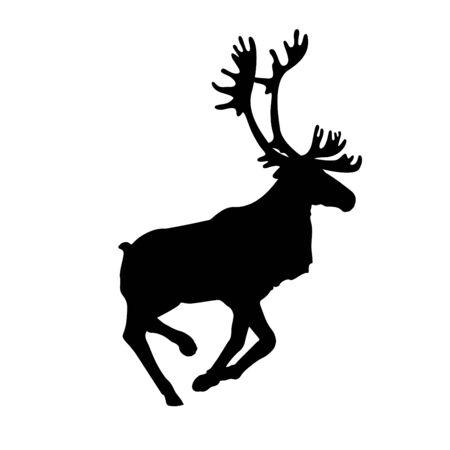 Icône de renne ou de caribou en cours d'exécution. Silhouette du renne du père Noël. Illustration vectorielle