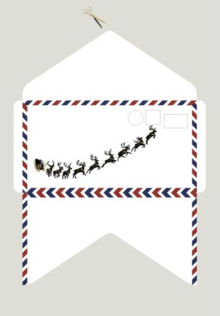 Layout of envelope for Christmas and New Year greetings. Holiday envelope with Santa Claus's sleigh with reindeer. Vector Illustration