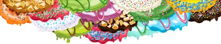 Various kinds of colorful glaze, sprinkles and toppings for donuts and other baked products. Vector Illustration