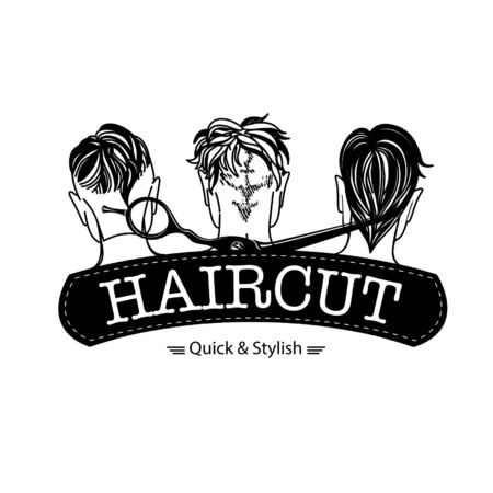 Logo for barbershop, hair salon with hipster haircuts and scissors. Vector Illustration
