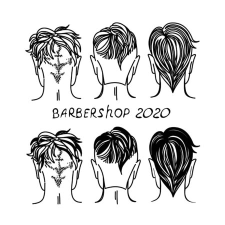 arbershop, hair salon with hipster haircuts. Vector Illustration