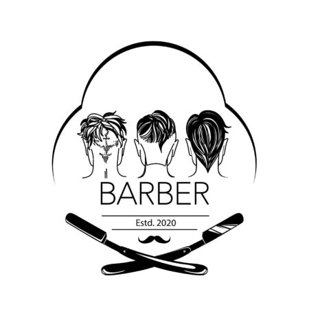 Logo for barbershop, hair salon with hipster haircuts and razors. Vector Illustration