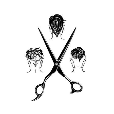 barbershop, hair salon with hipster haircuts and scissors. Vector Illustration