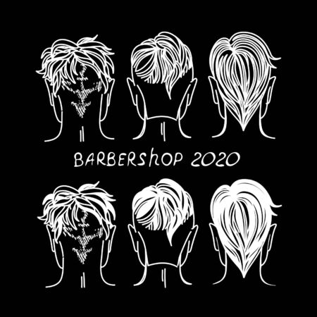 barbershop, hair salon with hipster haircuts. Vector Illustration