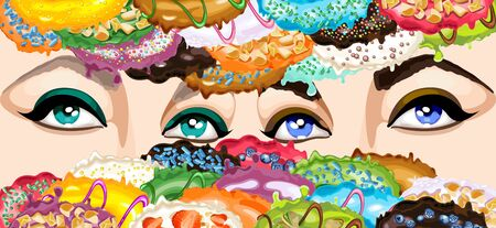 Abstract pattern with donut glaze and beautiful women's eyes. Vector Illustration