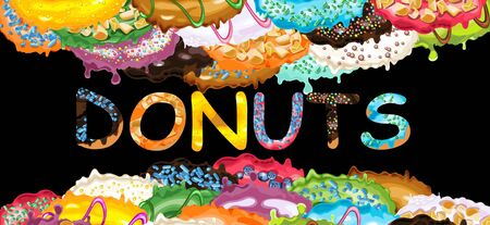 Abstract picture with variety of donuts with colorful glaze, sprinkles and toppings and donuts letters. Vector Illustration