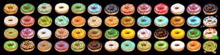 Set of colorful glazed donuts with sprinkles. Home made donuts in pastel tones with different fillings and toppings. Vector Illustration