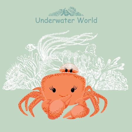 Cute baby crab, sea shell and coral reef. Underwater world print for children's wear, greeting cards, menu, wallpaper, decoration. Vector Illustration
