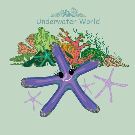 Cute baby starfish and coral reef. Underwater world print for children's wear, greeting cards, menu, wallpaper, decoration. Vector Illustration