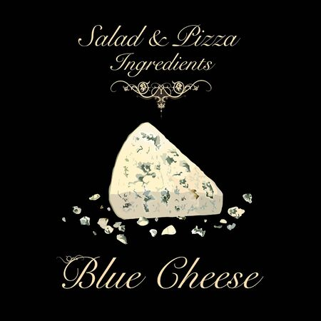 Salad and pizza ingredients - blue cheese. Vector Illustration