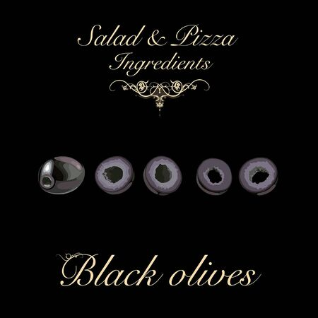 Salad and pizza ingredients - pitted black olives. Vector Illustration