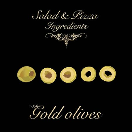 Salad and pizza ingredients - pitted gold olives. Vector Illustration