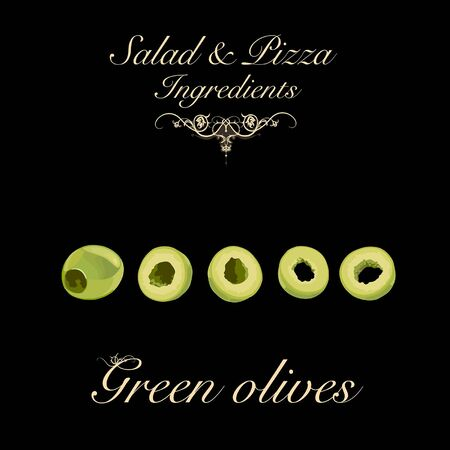Salad and pizza ingredients - pitted green olives. Vector Illustration