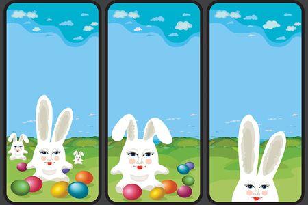 Set of Easter holiday greeting images. Vertical format suitable for smartphone. Vector Illustration Illustration