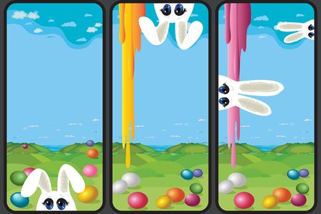 Set of Easter holiday greeting images. Vertical format suitable for smartphone. Vector Illustration Иллюстрация