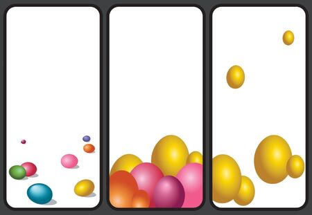 Set of Easter holiday greeting images. Vertical format suitable for smartphone. Vector Illustration 向量圖像