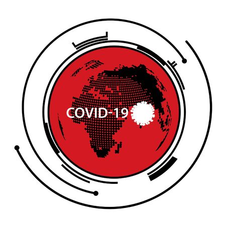 COVID-19 coronavirus icon. Global map and epecenter of contagious infection. Vector Illustration