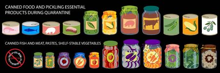 Set of icons of essential foods. Basic food staples for emergency situations and quarantine. Vector Illustration