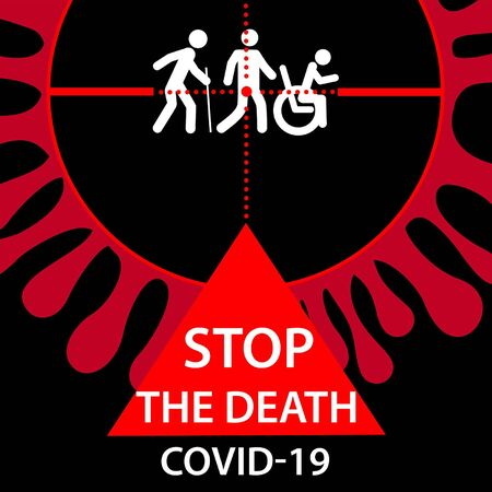 Stop COVID-19 coronavirus icon. People in crosshairs of novel contagious virus . Vector Illustration Иллюстрация