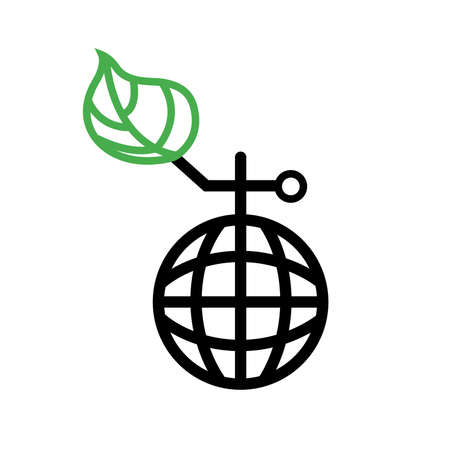 Globe in grenade shape with green leaf. Save the world from environmental disaster. Vector Illustration 向量圖像