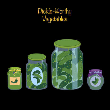 Icons of pickled cucumbers. Cucumbers in glass jars representing pickle-worthy vegetables. Vector Illustration
