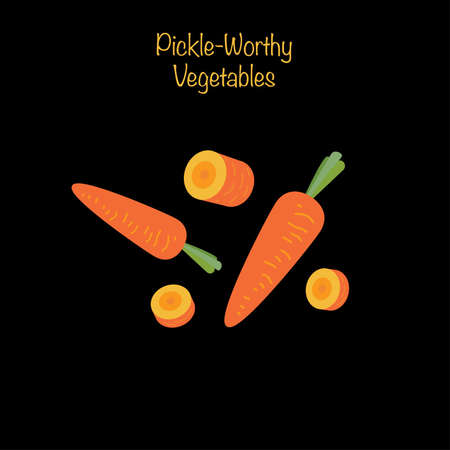 Pickle-worthy vegetables - whole and sliced carrots. Vector Illustration Иллюстрация