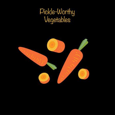 Pickle-worthy vegetables - whole and sliced carrots. Vector Illustration Illustration