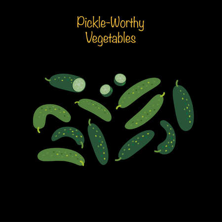 Pickle-worthy vegetables - whole and sliced cucumbers. Vector Illustration