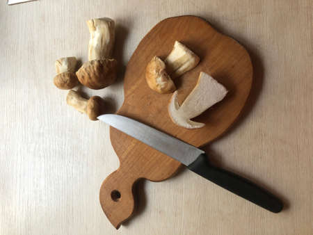 Boletus mushrooms on cutting board. Cooking preparation of cep, penny bun or porcini mushrooms. Photograph