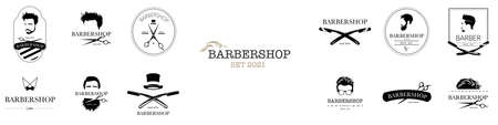 Set of barbershop. Hair salon logotypes with haircuts and barber tools and accessories. Vector Illustration