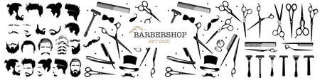 Set of barbershop symbols. Hair salon signs with haircuts and barber tools and accessories. Vector Illustration Illustration