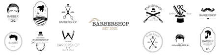 Set of barbershop logos. Hair salon logotypes with haircuts and barber tools and accessories. Vector Illustration Illustration