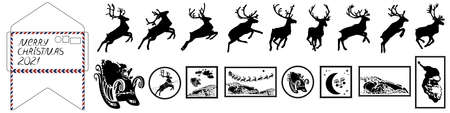 Santa Claus sleigh with reindeer. Santa delivering gifts and presents. Christmas postal stamps. Vector Illustration