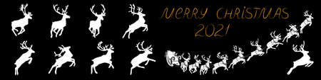 Santa Claus sleigh with reindeer. Santa delivering gifts and presents. Vector Illustration