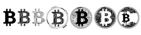Set of bitcoin sign icons. Bitcoin digital cryptocurrency in circuit board style. Vector Illustration