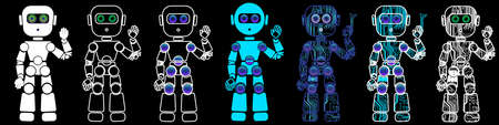 Friendly humanoid robot with raised hand in circuit board style. Vector Illustration