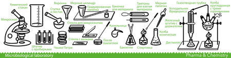 Set of microbiological lab icons. Miscellaneous laboratory devices and equipment. Notes in Russian language. Vector Illustration
