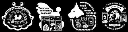 Set of logos for dog food and treats. Dog care products. Vector Illustration Ilustração