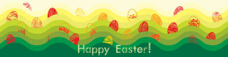 Easter eggs in circuit board style. Happy Easter greeting card. Vector Illustration
