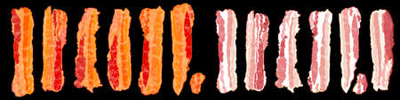 Set of bacon slices. Raw and cooked bacon. Vector Illustration