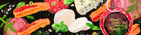 Meet and cheese background. Varieties of meat products, gourmet cheeses and verdure. Vector Illustration