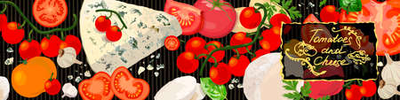 Tomatoes and cheese background. Varieties of tomato products, gourmet cheeses and verdure. Vector Illustration
