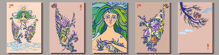 Images of mother nature as beautiful woman, spring and blossom. Vector Illustration