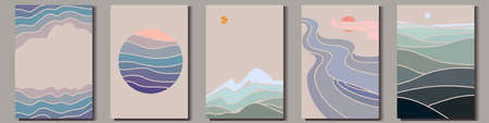 Abstract nature drawings in minimalistic oriental style. Sun, sky, mountain and water landscapes. Vector Illustration Ilustração