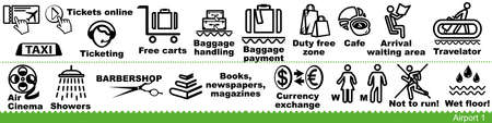 Set of airport icons. Baggage, waiting area, tickets, taxi service and airport amenities. Vector Illustration