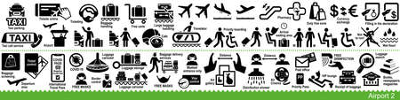 Set of airport, aircraft and air travel icons. Including COVID precautions signs. Vector Illustration Ilustração