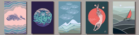 Set of artistic hand-drawn graphic posters. Sea and ocean pictures of fantasy whale, Neptune, mermaid, sailing yacht and abstract art. Vector Illustration Ilustração